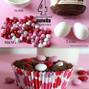 Nutella Brownies. Just 4 ingredients & so easy!  via Nest of Posies #recipe #valentine