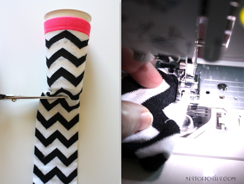 Make a coffee cozy out of a sock from the dollar bins via Nest of Posies