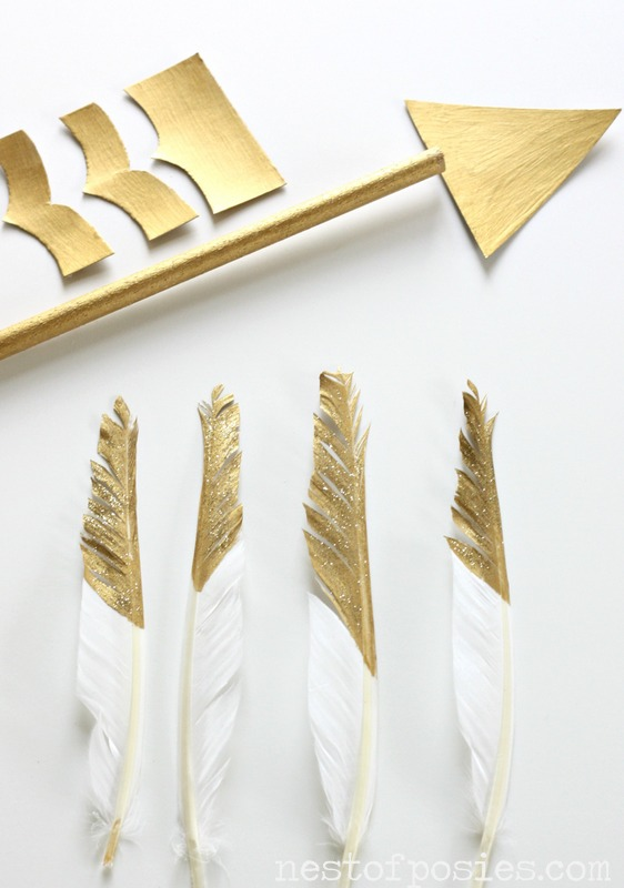 Gold dipped Feathers and Arrow via Nest of Posies
