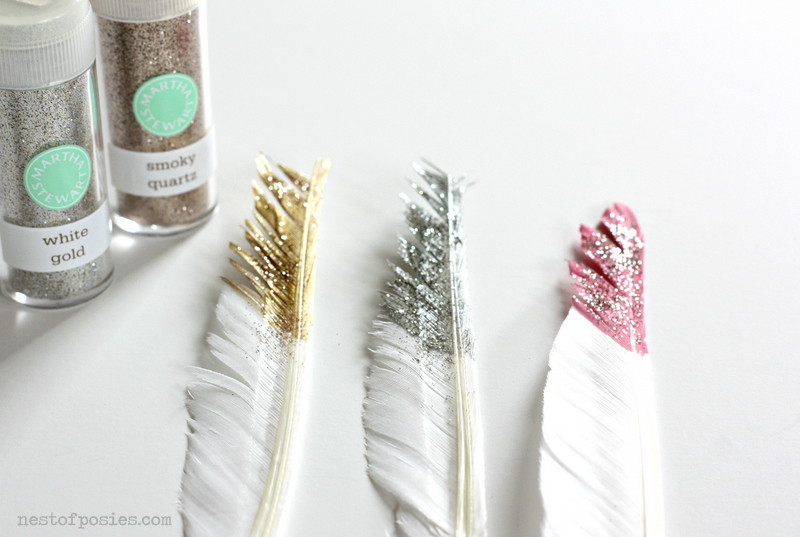 painted feathers with glitter