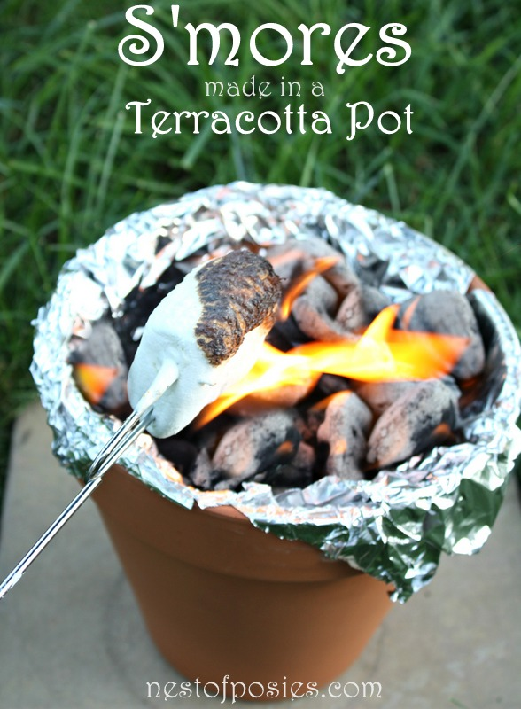 S'mores in a terracotta pot when you don't feel like starting up the firepit!  Perfect for parties or nights in the yard! via Nest of Posies
