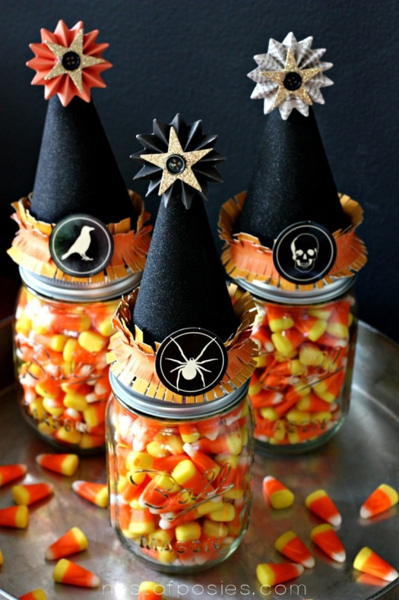Witches' Vitamins in a jar.  A fun Halloween Treat idea or party favor via Nest of Posies