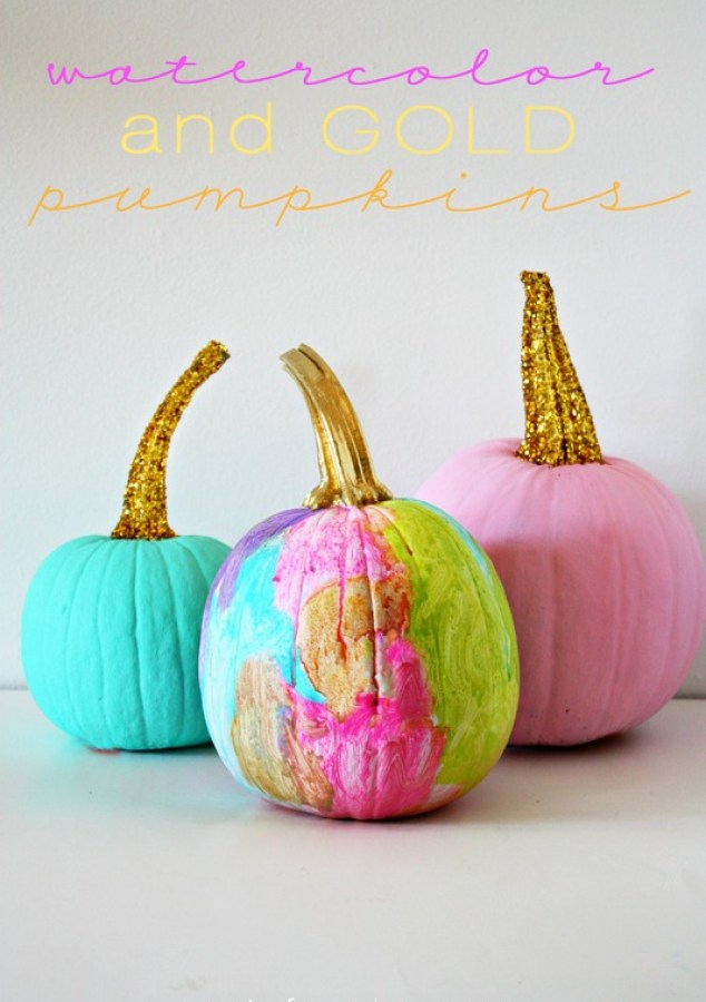 Watercolor and Gold Pumpkins