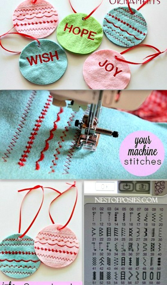 Make Stitched Ornaments using the decorative stitches on your machine!  So easy.  Great as gift tags too!