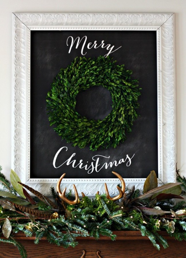 Merry Christmas Chalkboard Mantel