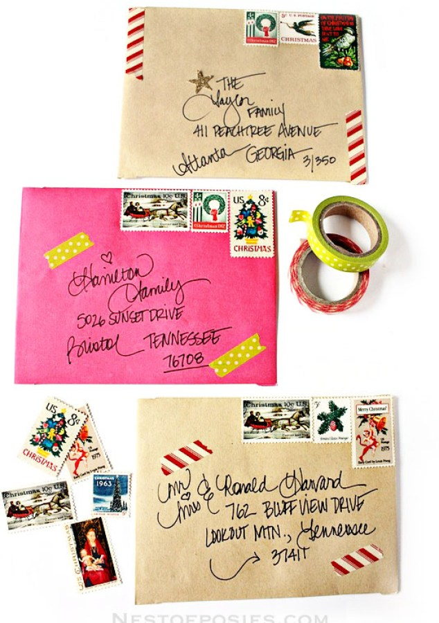 Washi Tape Christmas Envelopes