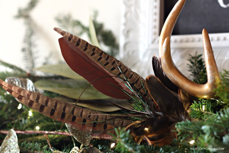 feathers on the mantel