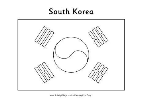 South Korea Flag Coloring Page