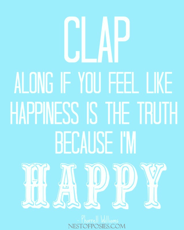 Because I'm Happy Song Printable in Aqua