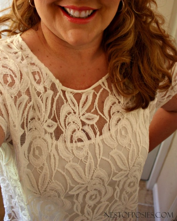 How to dress if you're plus size.  Classic Lace top with knit back.  Beautiful paired with anything.