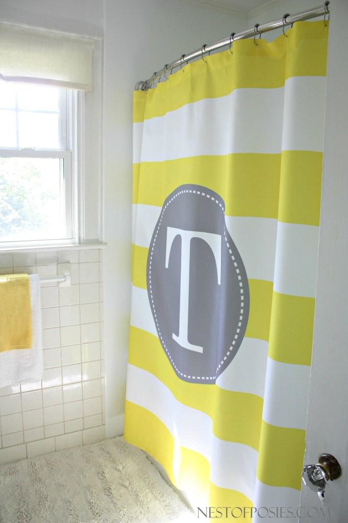 Yellow and White Stripe Shower Curtain with monogram