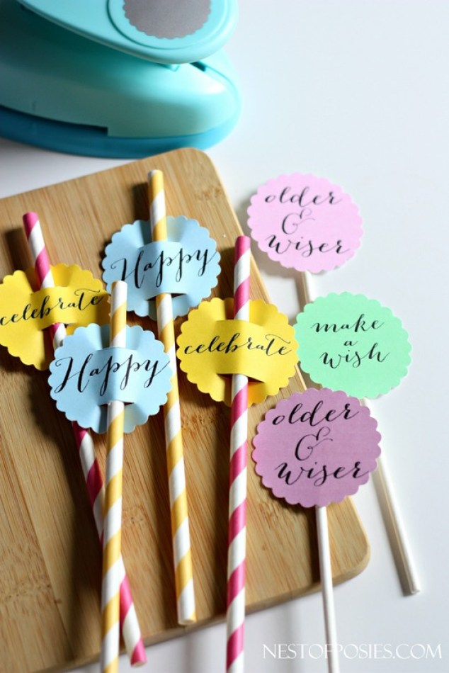Paper Straw and Cupcake Birthday Toppers