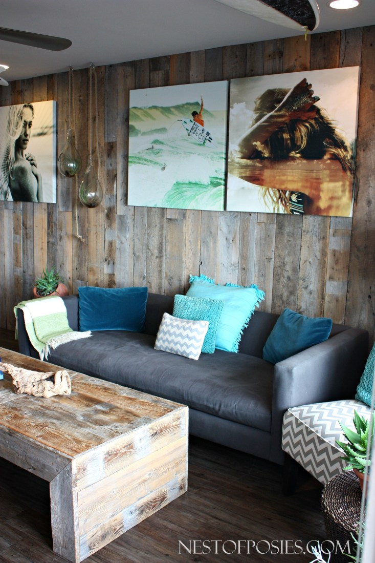 Beautiful contrasting textures.  Velvet, Wood, Rustic & Surfer Style - Pacific Edge Hotel