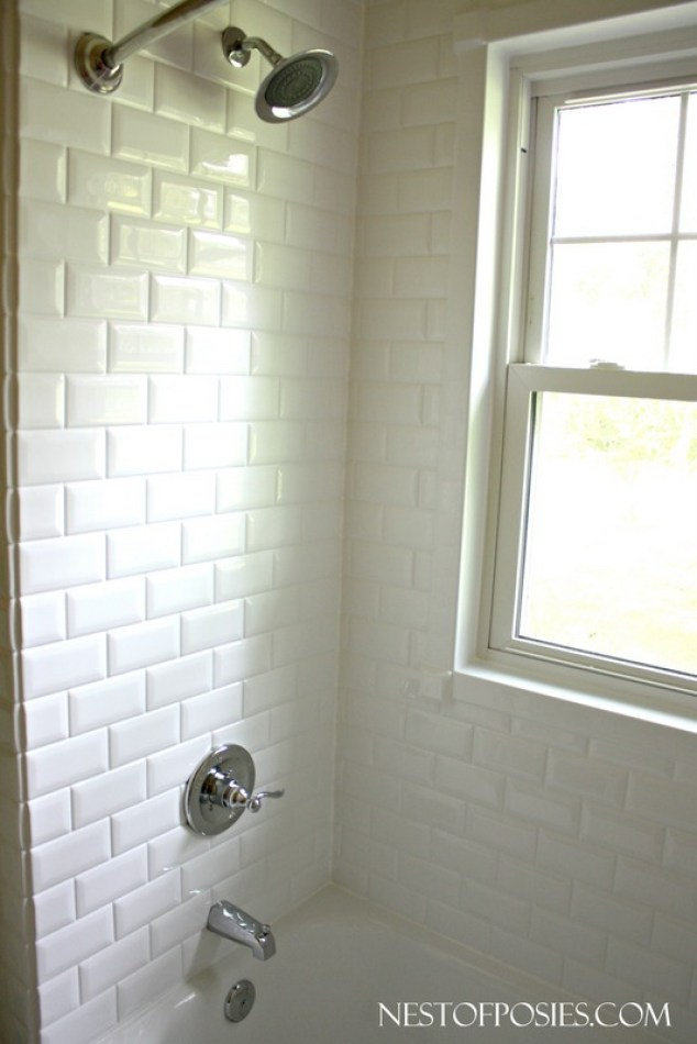 Adding a shower head to a bathtub with faux subway tile (ReBath)