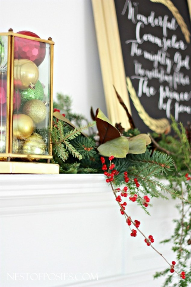 Christmas Mantel with FREE Isaiah 9-6 Printable.  Available in many sizes to download