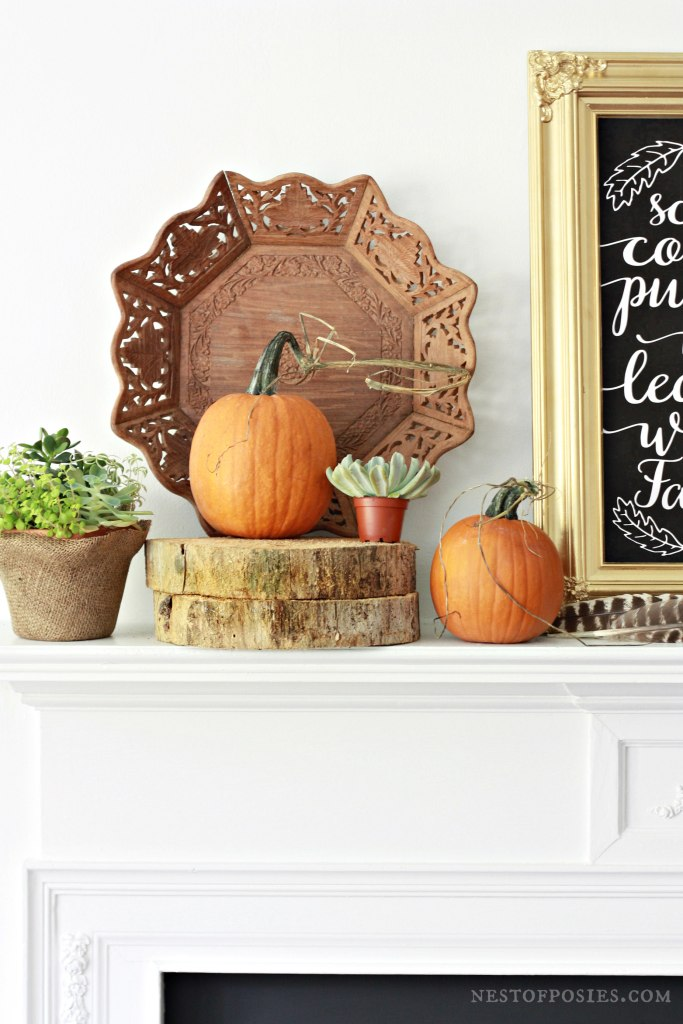 Natural and Thrifted Mantel with free Chalkboard Printable download