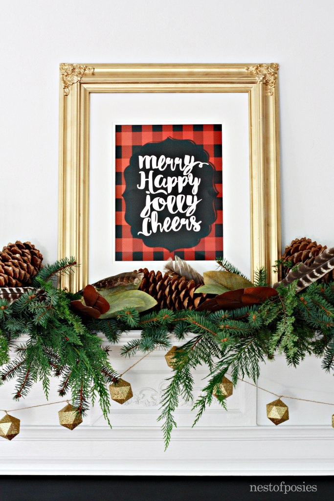 Christmas Mantel with Lumberjack Plaid free printable