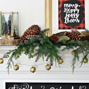 Merry Christmas Mantel with free plaid printable