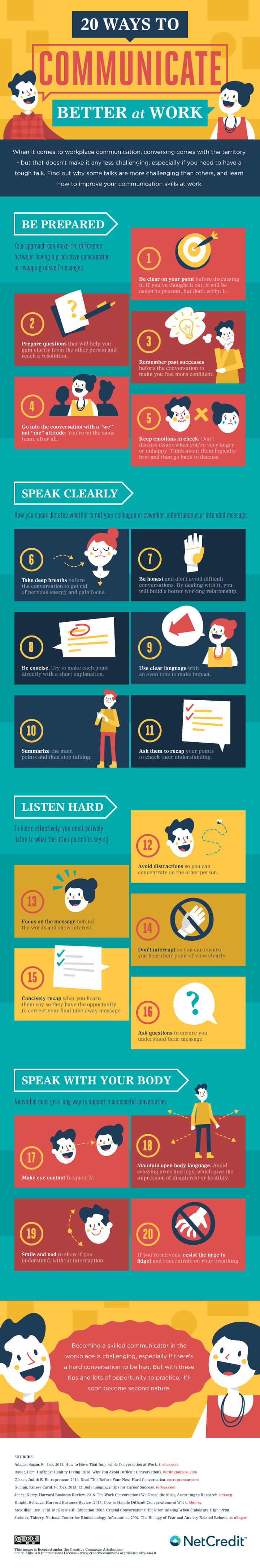 20 Ways to Communicate Better at Work Infographic