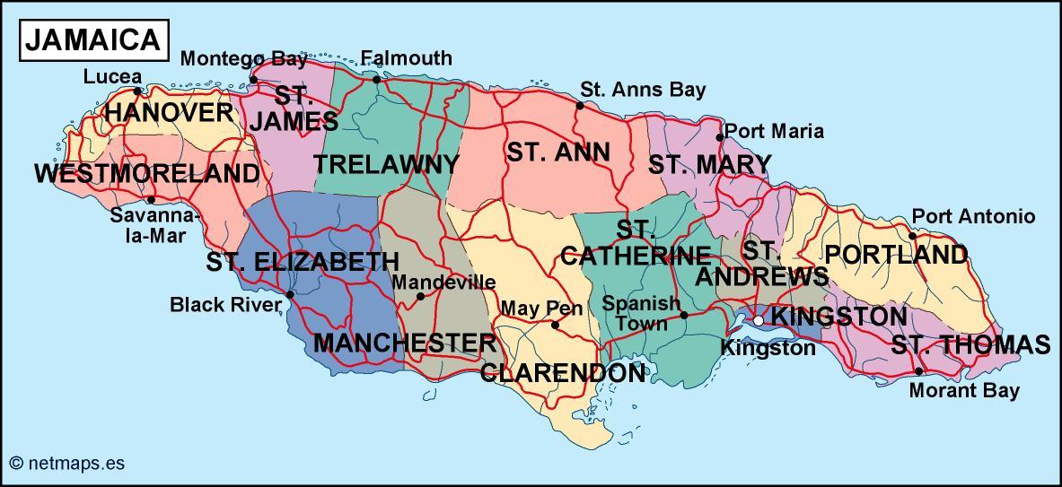 map to jamaica