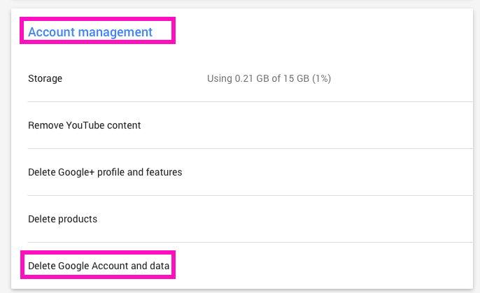 how to google account delete