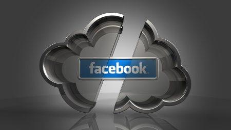 3d illustration of a blue Facebook logo hovering inside of a split metal cloud