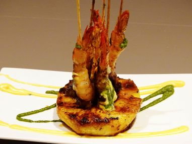 Gulf Shrimp (Prawn) and Tasso Pinchos, Crystal Hot Sauce Aioli, Chimichurri sauce, Grilled Pineapple