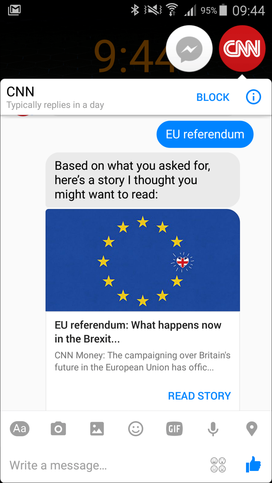 CNN bot Facebook Messenger