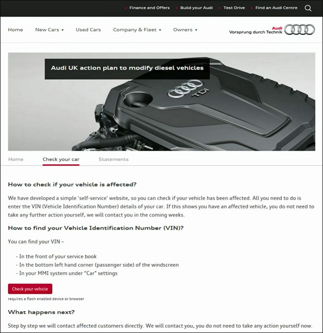 How to check if your Audi is affected
