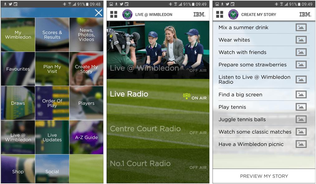 Wimbledon mobile app screenshots