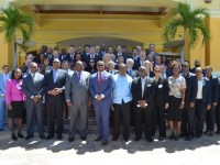 Governor General, Sir Tapley Seaton (3rd left), Prime Minister Harris (4th left), Minister Brantley (5th left), Premier Vance Amory (2nd left), Minister Liburd (6th left) with Members of the Diplomatic and Consular Corps Group Photo_040516