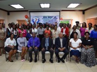 Sitting - Karimu Byron ( right), Director of the National Drug Council, Mr. Osmond Petty (centre), Permanent Secretary in the Ministry of National Security, Michael Morton (3rd right), Vice Chairman of the National Drug Council, along with the certified Specialists in Drug Prevention and Treatment