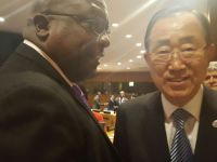 Prime Minister Dr. the Honourable Timothy Harris with United Nations Secretary-General His Excellency Mr. Ban Ki-moon.