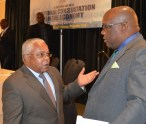 Prime Minister Harris (left) in discussion with Cuban Ambassador to St. Kitts and Nevis, His Excellency Hugo Ruíz Cabrera.