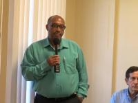 (L-r) Ian Ward, Manager of the Transmission and Distribution Department at the Nevis Electricity Company Limited and facilitator of at the Basic Hydraulics training workshop at the opening ceremony at company's board room at Long Point Road on October 11, 2016