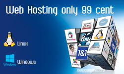 Web hosting just 99 cent at 1&1, free domain