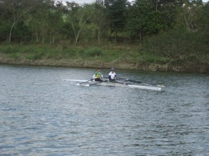 Rowing Itamonte lake in Brazil for Olympic training