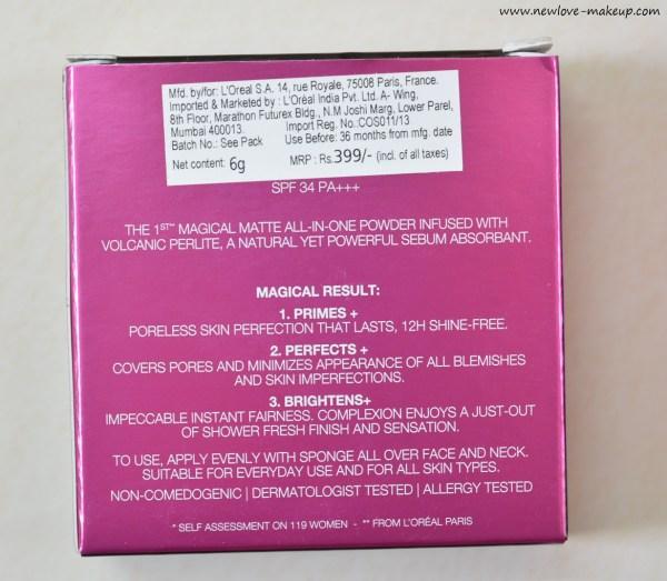 L'Oreal Paris Mat Magique Compact Powder Review, Swatches, FOTD
