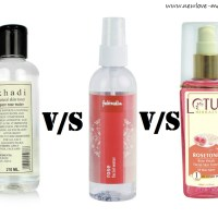 Khadi Rose Water vs Fabindia Rose Water vs Lotus Herbals RoseTone Facial Toner