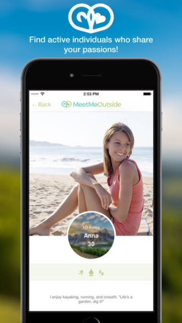 meetmeoutside dating app page showing a profile