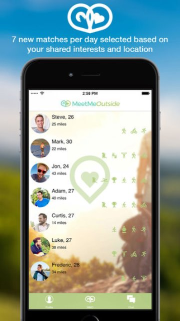 meetmeoutside dating app page showing the 7 matches of the day