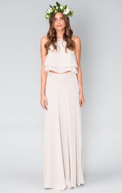 19 Surprisingly Exquisite Two Piece Bridesmaid Dresses