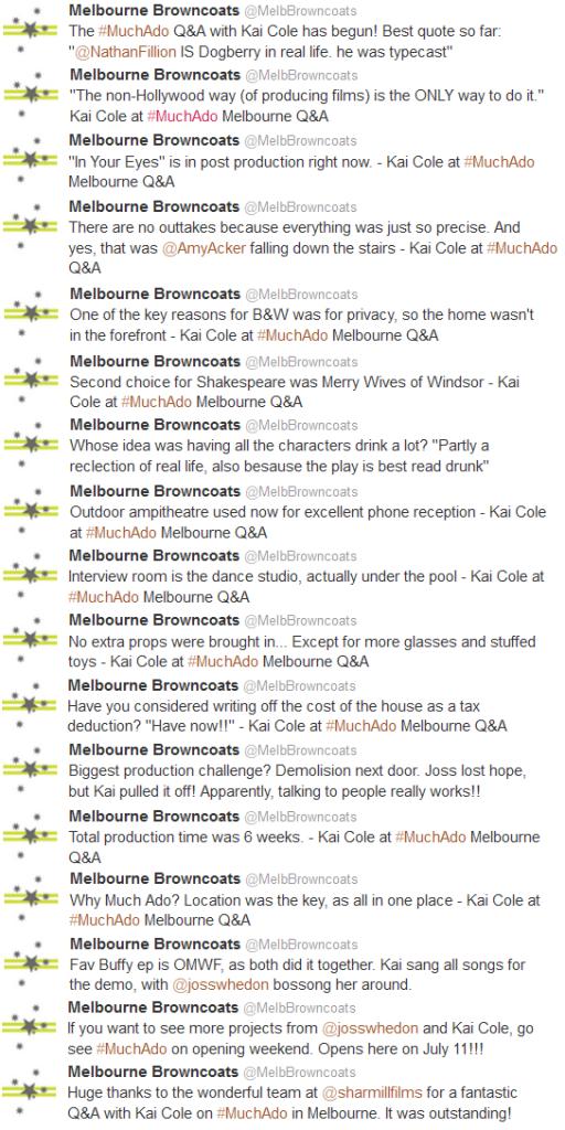 MuchAdo-KaiCole Q&A Tweet Summary