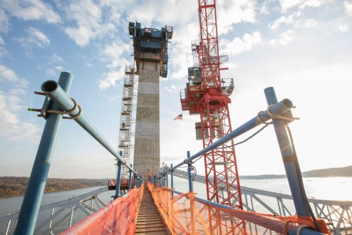 November 16, 2016 - A temporary walkway and staircase provide access for crew members working on the main span towers.
