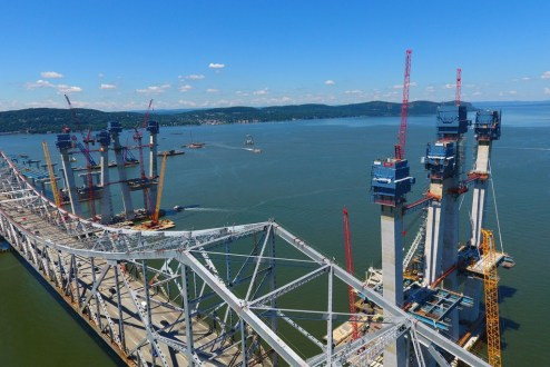 August 3, 2016 - The iconic main span towers rise above the existing Tappan Zee Bridge.