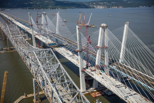 August 25, 2017 - Nearly all of the new bridge's 192 stay cables are installed on the main span.