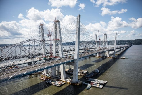 August 25, 2017 - The new bridge is prepared to carry four lanes of westbound traffic across the Hudson River