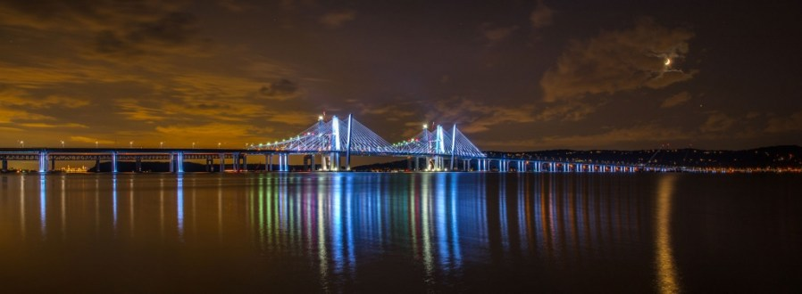 August 25, 2017 - The new bridge's aesthetic lighting illuminates the structure's piers and towers.