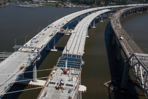 July 19, 2017 - The eastbound bridge's main span is connected to the Westchester approach.