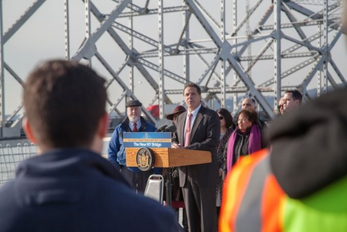 December 13, 2016 - Governor Andrew M. Cuomo announces the completion of the eight main span towers.